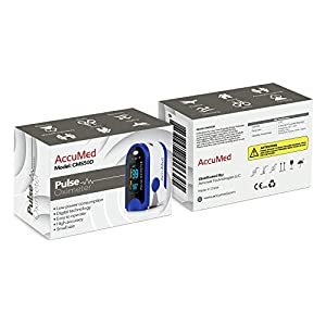 AccuMed CMS-50D Pulse Oximeter Finger Pulse Blood Oxygen SpO2 Monitor w/ Carrying case, Lanyard Silicon Case & Battery (Blue)