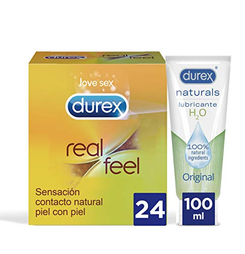 Durex Preservativos Real Feel + Lubricante Naturals H20-24 condones + Lubricante 100ml
