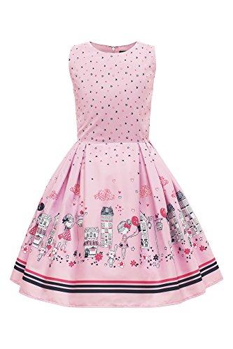 """BlackButterfly Dzieci """"Kira"""" Zabytkowe Lata '50 Dziecięce Dziewczęce Sukienka (Różowy, 13-14 lat)"""