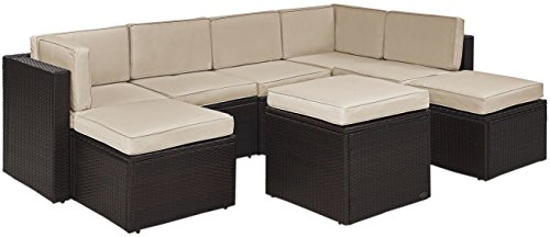Palm Harbor 8pc All-Weather Wicker Patio Seating Set - Sand - Crosley