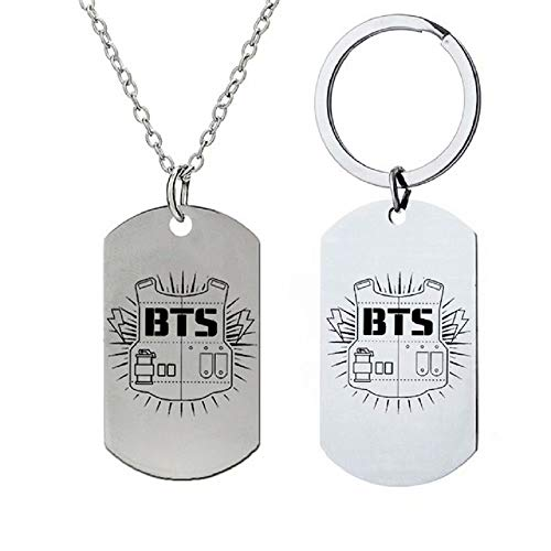 BTS Necklace Keychain Pendant Surrounding Stainless Steel 4 Pcs