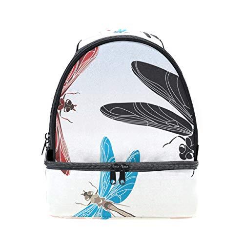 Schulter Double Lunch Bag Libelle Schablone Vector in drei Varianten Kühler verstellbarer Gurt für Picknick