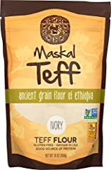 Maskal Teff Ivory Teff Flour, 16 Ounce (1 Pound), resealable stand up pouch Ancient Grain of Ethiopia; 100% Whole-Grain; Grown in USA Naturally Gluten-Free and Allergen-Free; Non-GMO Project Verified; Kosher Nutrient Dense. Good Source of Protein and...