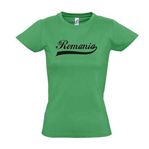 Damen T-Shirt - Romania Oldschool Rumänien LÄNDERSHIRT EM / WM FAN Trikot S-XXL , Kelly green - schwarz , XXL