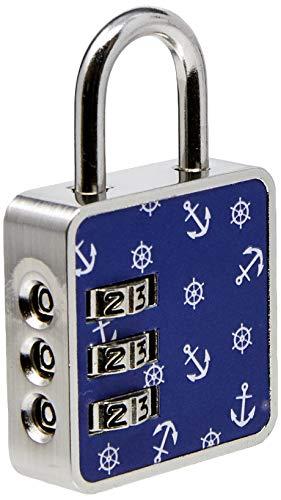 Papaiz 0114100SM8, Cadeado Segredo Fashion (Ancora), Azul e Branco