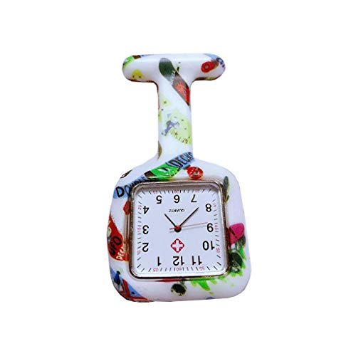 Nurse zakhorloge/wandplaten, Ruit Silicone Color Printing Infection Control Design, Arts medische verplegend personeel jas zak karabijnhaak 123 (Kleur: C) Klassiek stijlvol zakhorloge. (Color : O)