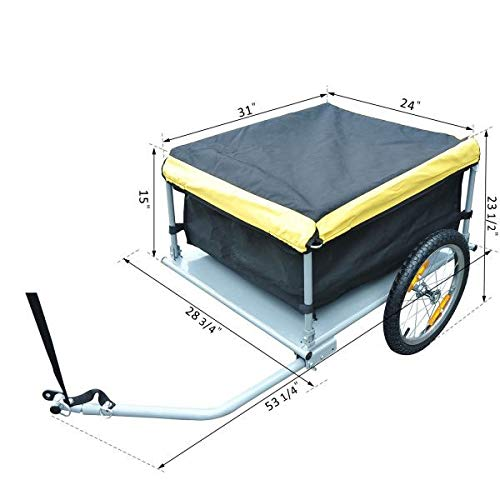 Best Price Folding Bike Cargo and Luggage Trailer with Removable Cover and Quick Release Wheels - Ye...