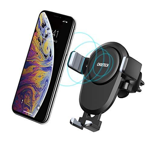 CHOETECH Wireless Charger Auto, Air Vent Mount QI Handyhalterung, drahtloses Ladegerät 7.5W/10W Kompatibel mit iPhone 11/11 Pro/11Pro Max/XS/XS Max/XR/X/8, Galaxy...