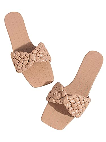 Sandalias de diapositivas para mujer, zapatilla de verano Cuadrado de punta abierta Tobla plana Tobogán de crisscross Correa trenzada Moda anti-patinaje bajo tacón de tacón Mule Slip en zapatilla casu