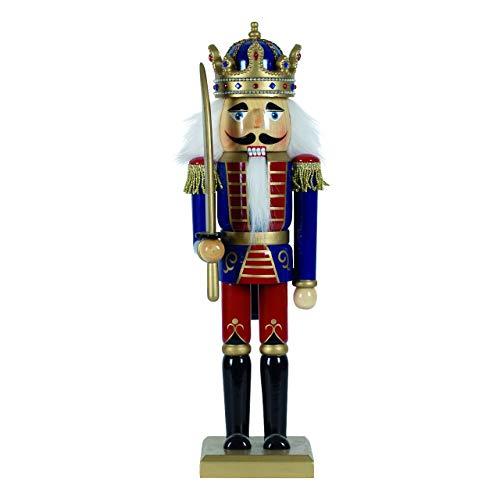 OBC-Kunsthandwerk Nussknacker Figur groß XL / 50 cm/König mit Schwert blau-rot/Deko Figur Nussknacker Holz/Handbemalt im Erzgebirge Stil/weihnachtlich dekorieren