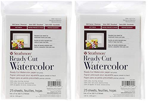 Strathmore 140-305 500 Series Ready Cut Watercolor Paper, 140 lb. Hot Press, 5'x7', 25 Sheets (Тwo Рack)