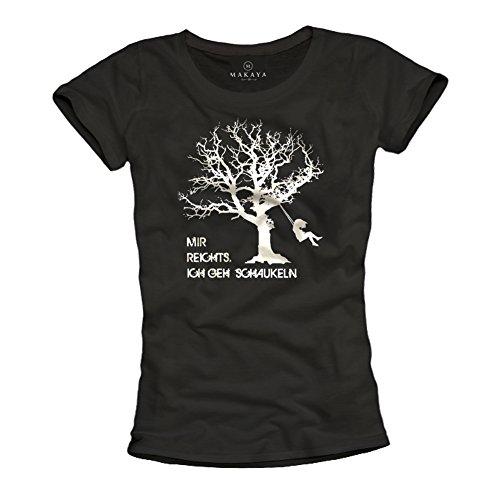 MAKAYA Estoy harto, Estoy columpiando - Camiseta con Mensaje aleman para Mujer - Negra S
