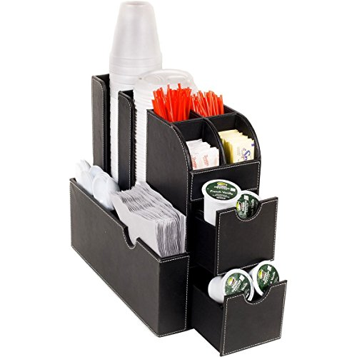G.U.S. Coffee Condiment and Accessories Organizer for Office Breakroom or Home Kitchen. Decorative Black Leatherette