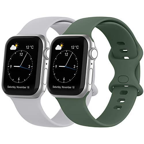 Recoppa Kompatibel mit Apple Watch Armband, Silikon Armband mit Druckverschluss für Apple Watch Series 6 5 4 3 2 1 SE, Grün+Grau, 42mm/44mm S