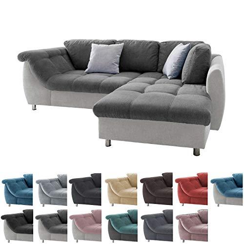 lifestyle4living Ecksofa in Anthrazit und Hellgrau mit Schlaffunktion | Eckcouch Eckgarnitur Polsterecke Sofa | Moderne Wohnlandschaft mit Rückenkissen und Zierkissen