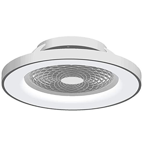 Mantra Iluminación. Modelo TIBET. Ventilador y plafón de techo de 65 cm de diámetro en color plata. Fuente de luz LED 70W 2700K-5000K 3900lm. Ventilador 35W