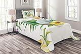 ABAKUHAUS Papagei Tagesdecke Set, Hibiscus mit Wild Birds, Set mit Kissenbezug Maschienenwaschbar, für Einselbetten 170 x 220 cm, Gelb Grün Weiß