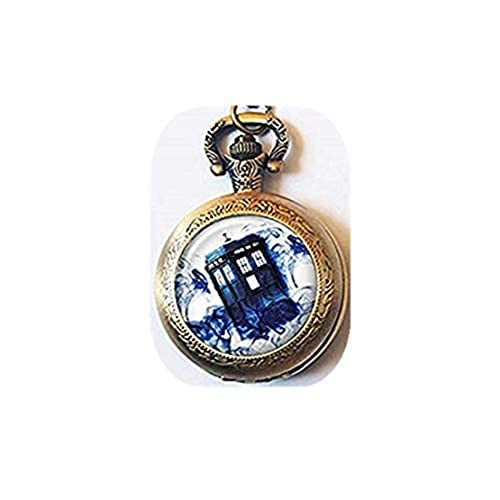 Doctor Who - Collar con reloj de bolsillo, Tardis en Blue Mist, caja de policía