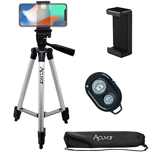 Acuvar 50' Inch Aluminum Camera Tripod, Universal Smartphone Mount + Wireless Remote Control Camera Shutter for iPhone 12, iPhone 11 Pro Max, 11 Pro, Xs, Xr, X, SE 2 Pixel 3, Android S20 S10 Note 10