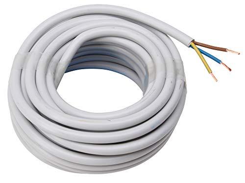 Kopp Meter Schlauch-Leitung 3 adrig, H05 VV-F 3 G 2,5 mm² (10 m) für Flexible Verlegung, 300V/500V, Strom-Kabel für mittlere Beanspruchung, grau, 158510840