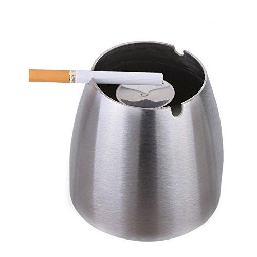 Isenretail Posacenere Posacenere Antivento in Acciaio Inox per Sigarette Fumo, Base Antiscivolo, Posacenere per casa/Scrivania da Interno