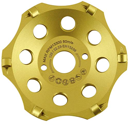PRODIAMANT PKD Diamant-Schleiftopf 125 mm x 22,2 mm 6 Segmente Diamantschleiftopf 125mm passend Winkelschleifer