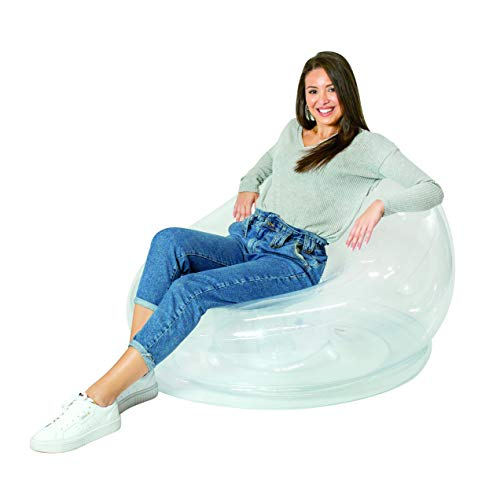 AirCandy Inflatable Chair - Clear - 40 x 46 Inflatable Chair - Comfortable Indoor/Outdoor Furniture for Home, Dorm, Parties & Events - 100% Waterproof & Holds up to 250lbs