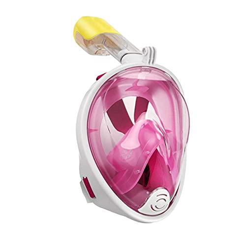 Qians Máscara de Buceo Cara Completa, 180 Vista Panorámico Máscara de Snorkel Antivaho y Antifugas con Apoyo Camara Deportiva, para Adultos y Niño Grand