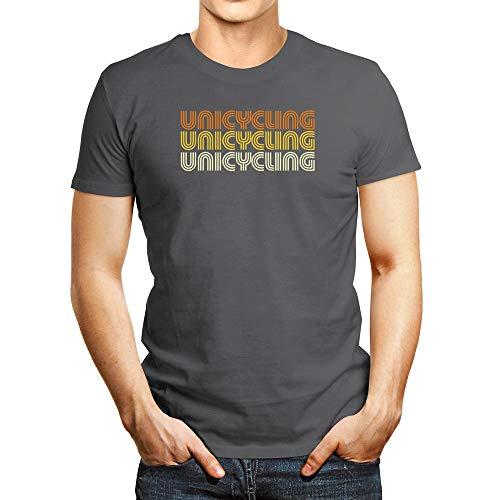 Idakoos Einrad-T-Shirt, Retro-Design - Silber - Mittel