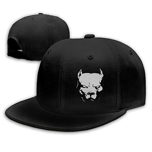 Scary Pitbull Dog Head Mens Snapback Flat Bill Baseball Cap Adjustable Black