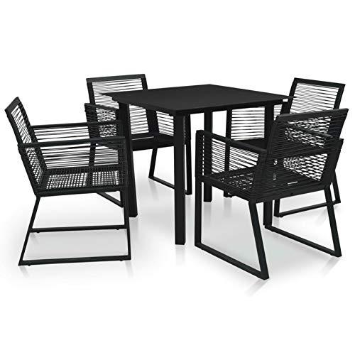 Tidyard Garten-Essgruppe Sitzgruppe Gartentisch Esstisch Sessel 4 Personen Gartenmöbel Set Schwarz