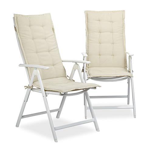 Relaxdays Stuhlauflage Set, 2 Polsterauflagen für Hochlehner, Gartenauflagen aus Polyester Gartenstuhlauflage, Beige, 3x48x120 cm