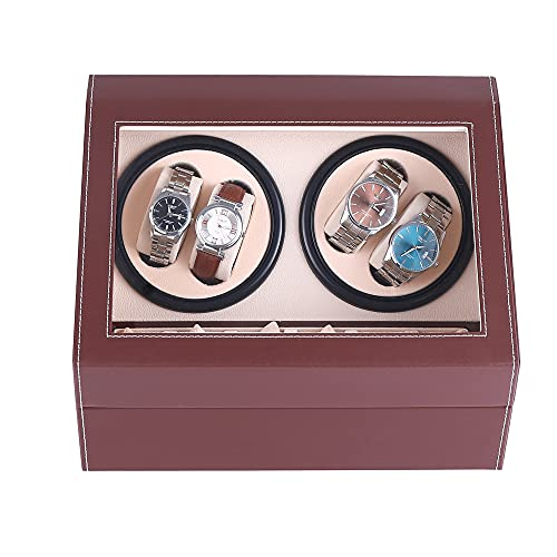 Automatic Watch Winder Display Box, 4+6 Leather Rotating Display Box Luxury Storage Case (USA Stock) (Brown)