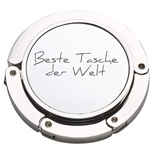 Personalisierter Handtaschenhalter Ausklappbar mit Gravur Bag Butler Silber robuster Taschenhaken mit Namen Aufhänger für Taschen mit 45mm Valentinstag