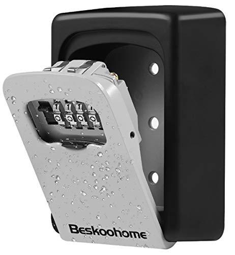 BeskooHome Schlüsseltresor zur Wandmontage, wasserdicht, mit Zahlenkombination, aus Zinklegierung, Schlüsselaufbewahrung mit Schiebeabdeckung, mit zurücksetzbarem Code, für Haus-Ersatzschlüssel