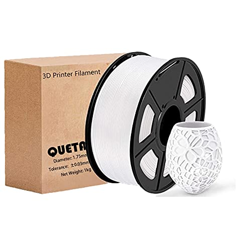 Filamento PLA 1.75mm para Impresión 3D, Queta Filamento PLA 1KG Spool Materiales de Impresión 3D, Precisión Dimensional + - 0.02 mm (Blanco)