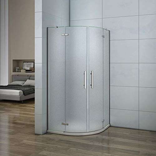 90x90x195cm Cabina de ducha, Mampara de ducha esquina, apertura abatible antical opaco+plato de ducha, Curva Italiana