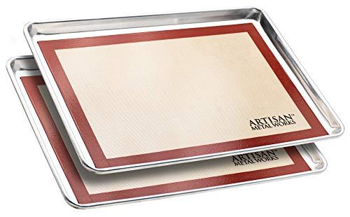Artisan Metal Works - Set of 2 2/3 Size Aluminum Sheet Pan w/Silicone Baking Mat, 1 Set