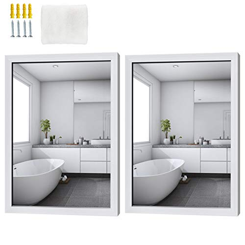 Schliersee Wall Mirror 18x24 inch, Hanging Rectangular White Mirrors for Bathroom, Living -