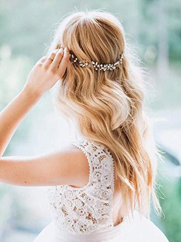 Simsly Haarschmuck mit Strass und Perlen, Rankenform, Blumenmotiv, Brautschmuck, für Damen und Mädchen, silberfarben