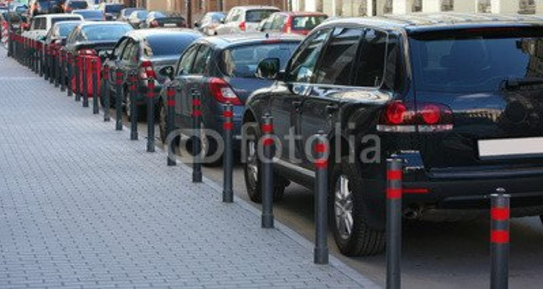 AluminiumDibond image 110 x 60 cm   Parking on the street in the city , image on a AluminiumDibond