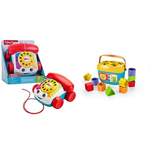 Fisher-Price Teléfono Carita Divertida, Juguete Educativo bebé +1 año (Mattel FGW66 ) + - Bloques Infantiles, Juguete Bloques Construcción para Bebé +6 Meses (Mattel FFC84)