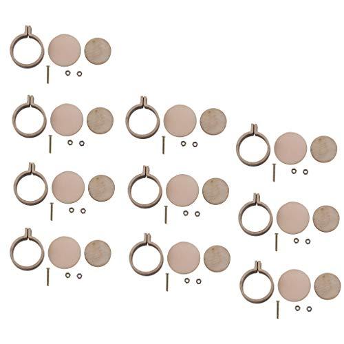 joyMerit 10-Packs DIY Wooden Mini Embroidery Hoop for Necklaces Or Pendants Miniature Embroidery Hoops DIY Tiny Hoop Kit 3cm x 2.5cm