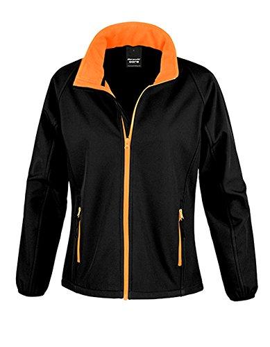 Result Damen R231F Bedruckbare Softshell-Jacke, schwarz/orange, Large/Size 14