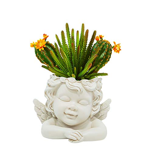 simpdecor Head Plant Pot Flower Pot with Drainage Hole Angel Planter Pots for Succulent Plants Faux