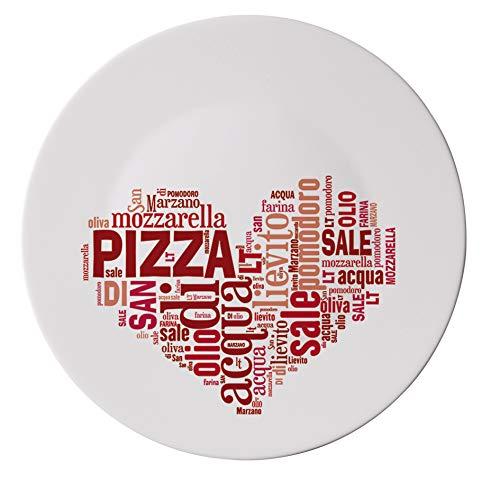 CRISTALICA Pizzateller flach I Love Pizza Platzteller 33 cm Opalglas