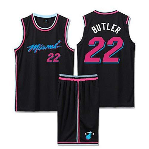 Dybory Camiseta De Baloncesto Miami Heat, Uniforme De Entrenamiento De Baloncesto De Malla # 22 Jimmy Butler, Camiseta Sin Mangas Unisex Y Traje Corto,Negro,XS