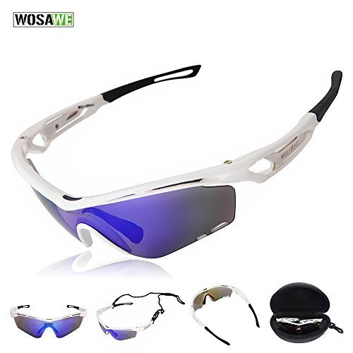 Wolfbike Outdoor Sports Cycling Sunglasses with 3 Set Interchangeable Lenses, White Frame