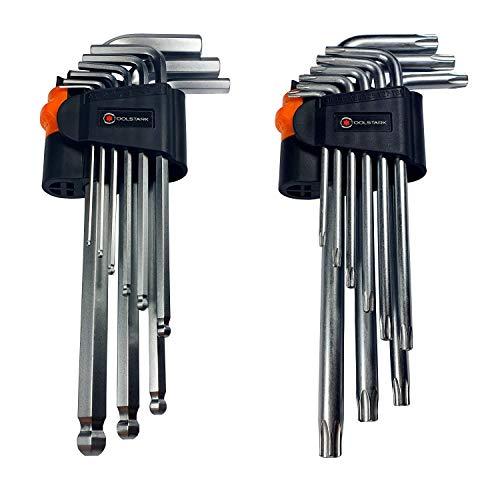 Innensechskantschlüssel Set mit Kugelkopf und Torx set- Toolstark-Professioneller Schlüsselset mit gummiertem, abschließbarem Griff - Hochwertiges Edelstahlset, bestehend aus 18 Elementen.