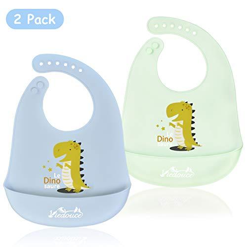 Viedouce Baberos Bebe Bandanas, Impermeable Babero de Bebé del Silicona con 6 botones ajustables,bebés Baberos Drool para niños niñas, Super suave & Limpie fácilmente(2 paquetes)